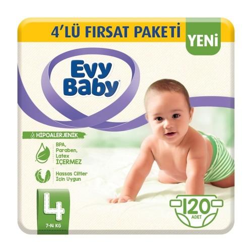 Evy Baby Bebek Bezi 4 Beden Junior 4 lü Fırsat Paketi 120 Adet
