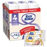 Evy Baby Bebek Bezi 4 Beden Maxi Ultra Fırsat Paketi 162 Adet (80 Yaprak Islak Havlu Hediyeli)