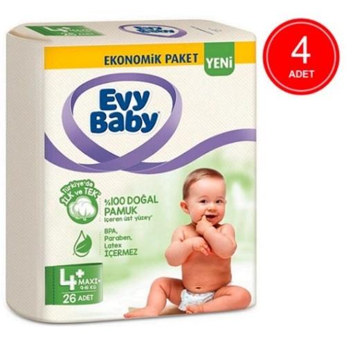 Evy Baby Bebek Bezi 4+ Beden Maxiplus 4 lü Fırsat Paketi 104 Adet