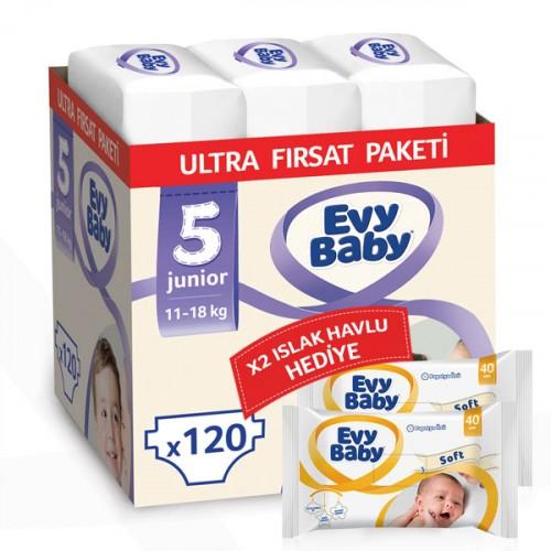 Evy Baby Bebek Bezi 5 Beden Junior Ultra Fırsat Paketi 120 Adet (80 Yaprak Islak Havlu Hediyeli)