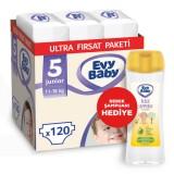 Evy Baby Bebek Bezi 5 Beden Junior Ultra Fırsat Paketi 120 Adet (Şampuan Hediye)