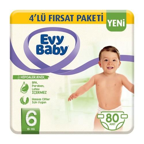 Evy Baby Bebek Bezi 6 Beden Ekstra Large 4 lü Fırsat Paketi 80 Adet