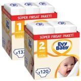 Evy Baby Bebek Bezi Yenidoğan 1 Beden 132 Adet + 2 Beden 120 Adet