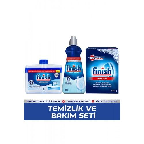Finish Parlatıcı 400 ml + Makine Temizleyici Sıvı 250 ml + Tuz 500 gr