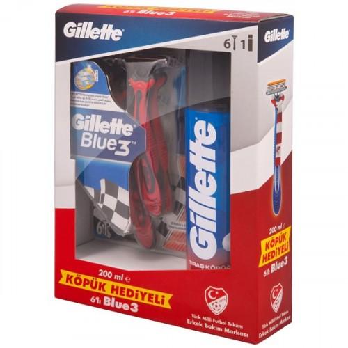Gillette Blue3 Kullan At Tıraş Bıçağı 6'lı + 200 ml Tıraş Köpüğü