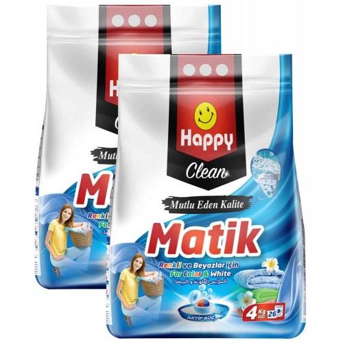 Happy Clean Toz Çamaşır Deterjanı Renkli ve Beyazlar 4 kg x 2 Adet