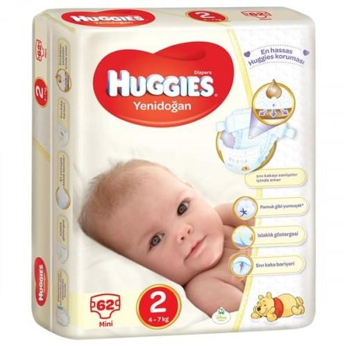 Huggies Bebek Bezi Jumbo Paket Yenidoğan 2 Beden 62 li