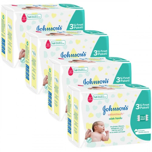 Johnson's Baby Islak Havlu Cotton Touch 72 li x 12 Adet (864 Yaprak)