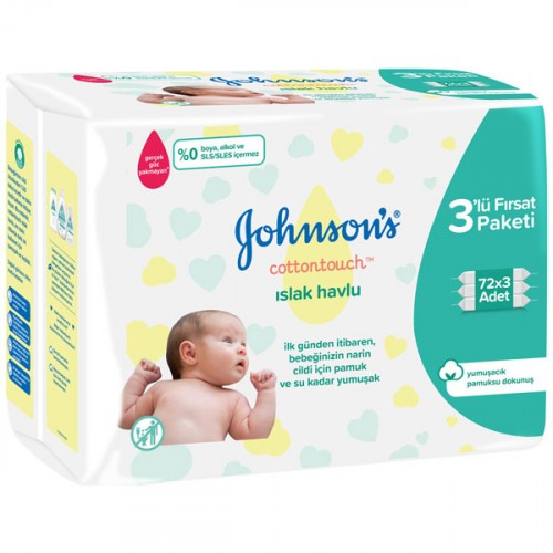 Johnsons Baby Islak Havlu Cotton Touch 72 li x 3 Adet (216 Yaprak)