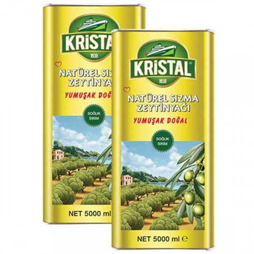 Kristal Natürel Sızma Zeytinyağı Yumuşak Doğal Teneke 5 lt x 2 Adet