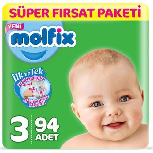 Molfix Bebek Bezi 3 Beden Midi Süper Fırsat Paketi 94 Adet
