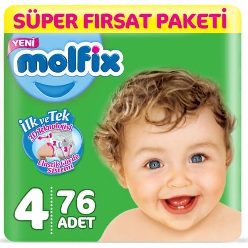 Molfix Bebek Bezi 4 Beden Maxi Süper Fırsat Paketi 76 Adet
