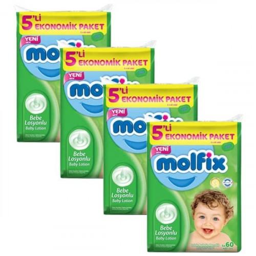 Molfix Islak Havlu Losyonlu 60 lı 5 li Paket x 4 Adet (1200 Yaprak)