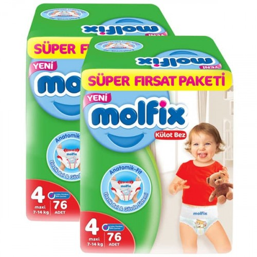 Molfix Pants Külot Bezi Süper Fırsat Maxi 4 Beden 76 lı x 2 Adet
