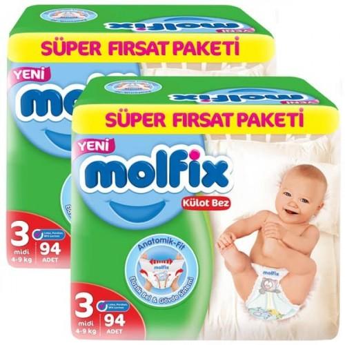 Molfix Pants Külot Bezi Süper Fırsat Midi 3 Beden 94 lü x 2 Adet