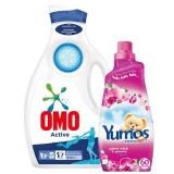 Omo Sıvı Deterjan Active 1950 ml + Yumoş Extra Yabani Orkide 1440 ml