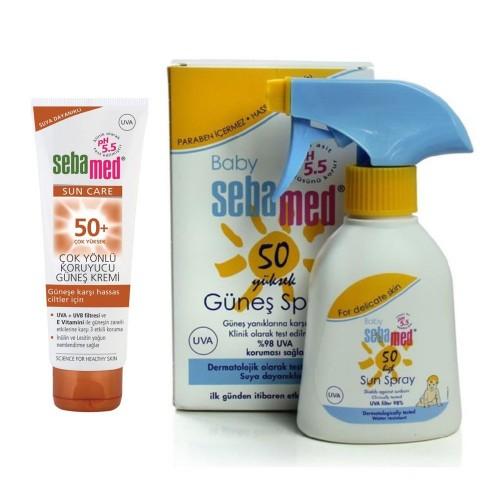 Sebamed SPF 50+ Güneş Kremi 75 ml + Bebe Güneş Spreyi Spf 50 200 ml