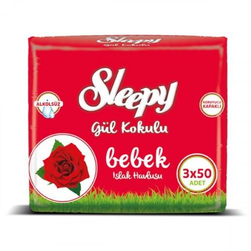 Sleepy Islak Havlu Gül 50 li (3lü Fırsat Paketi)