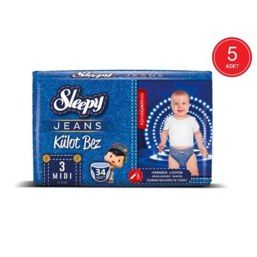Sleepy Jeans Külot Bez Midi 3 No 34 lü x 5 Adet