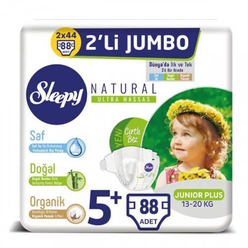 Sleepy Natural Bebek Bezi Junior Plus 5+ 22 li x 4 Adet