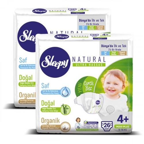 Sleepy Natural Bebek Bezi Maxi Plus 4+ No 26 lı x 2 Adet