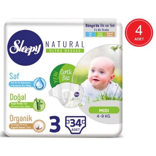 Sleepy Natural Bebek Bezi Midi 3 No 34 lü x 4 Adet
