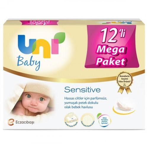 Uni Baby Sensitive Islak Bebek Havlusu 12 li Fırsat Paketi (672 Yaprak