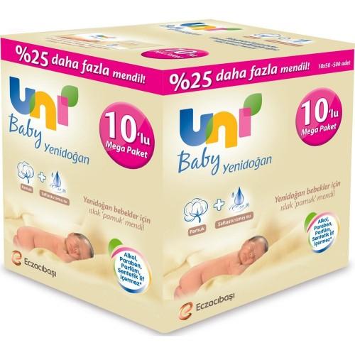 Uni Baby Yenidoğan Islak Havlu 50 li 10 lu Paket (500 Yaprak)