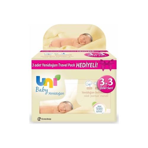 Uni Baby Yenidoğan Islak Mendil 3 lü + 3 Adet Travel Pack