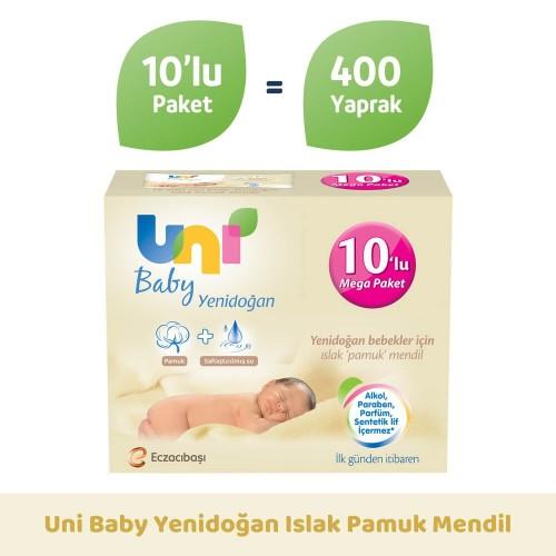 Uni Baby Yenidoğan Islak Pamuk Mendil 10 lu (400 yaprak)
