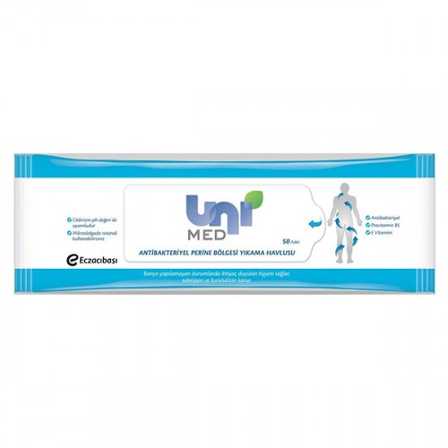 Uni Med Antibakteriyel Perine Bölgesi Yıkama Havlusu 50 li