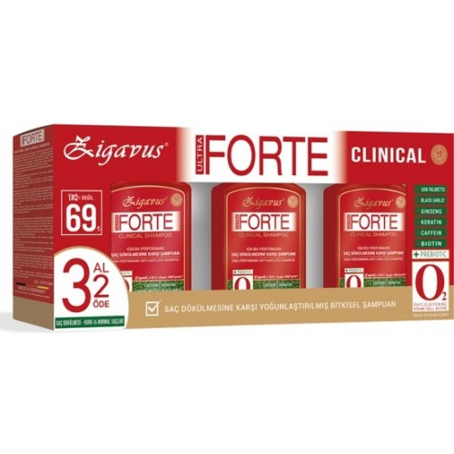 Zigavus Forte Ultra Clinical Kuru ve Normal Saçlar 300 ml 3 Al 2 Öde
