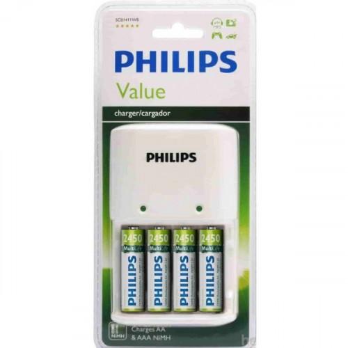 Philips SCB1492WB Şarj Cihazı 4'lü 2450 mAh Şarjlı Pil