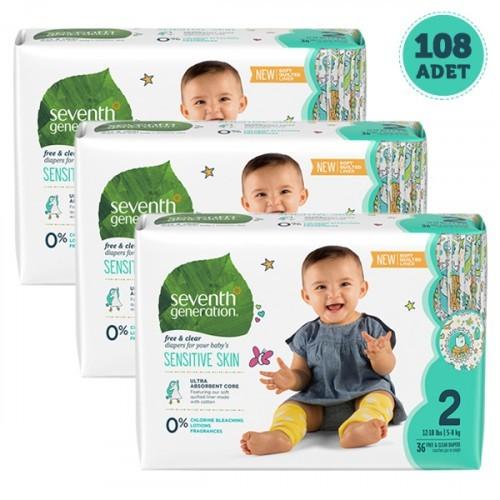 Seventh Generation Bebek Bezi 2 Beden 36 lı x 3 Adet