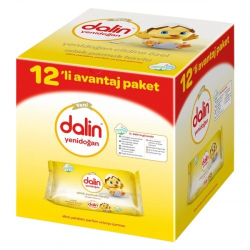 Dalin Yenidoğan Islak Pamuk Havlu 12li Paket