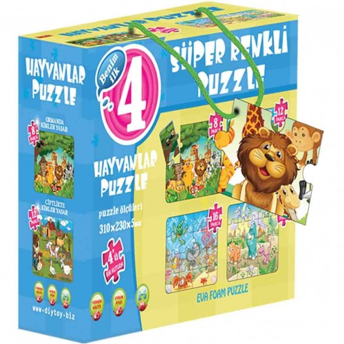 Diy-Toy Yayınları Hayvanlar Süper Renkli Puzzle 1481