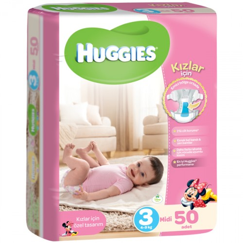 Huggies Midi Kız Bebek Bezi 3 No 50 li