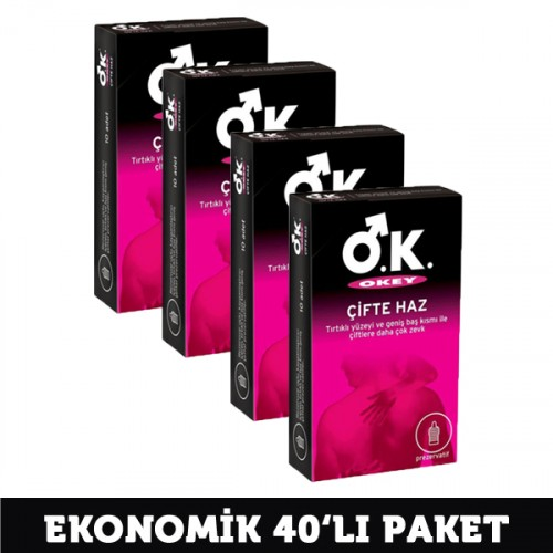 Okey Kondom Çifte Haz 10 lu x 4 Adet
