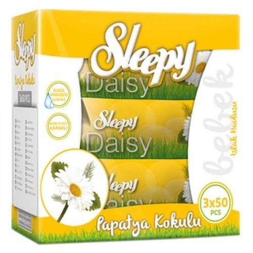 Sleepy Islak Havlu Kutulu Papatya Kokulu 50 li (3lü Fırsat Paketi)