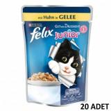 Felix Junior Pouch Tavuklu Yavru Yaş Kedi Maması 100 gr x 20 Adet