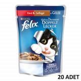 Felix Sığır Etli ve Tavuklu Yetişkin Kedi Yaş Maması 100 gr x 20 Adet
