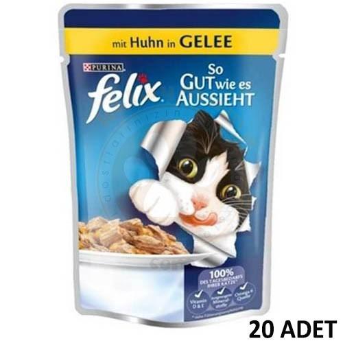 Felix Pouch Tavuk Etli Yaş Kedi Maması 100 gr x 20 Adet