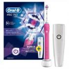 Oral-B Pembe Pro 750 Şarj Edilebilir Diş Fırçası (Seyahat Kabı Hediye)