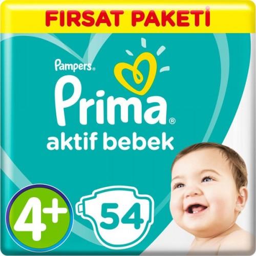 Prima Bebek Bezi Aktif Bebek 4+ Beden Maxi Plus Fırsat Paketi 54 Adet