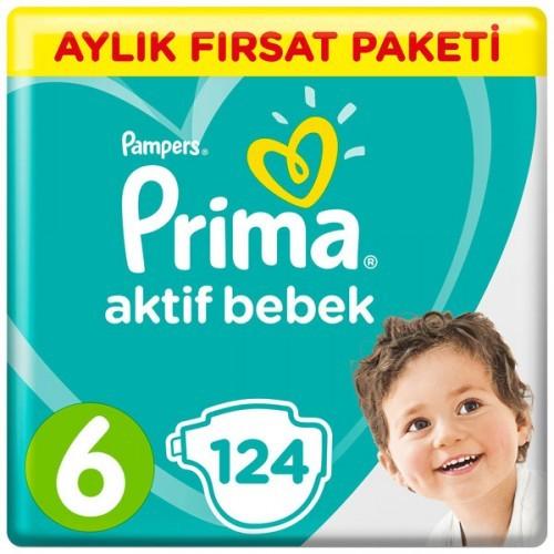 Prima Pampers Bebek Bezi Aktif Bebek Aylık Ekstra Large 6 Beden 124 lü