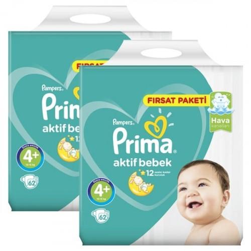Prima Bebek Bezi Fırsat Paketi Maxi Plus 4+ Beden 62 li x 2 Adet
