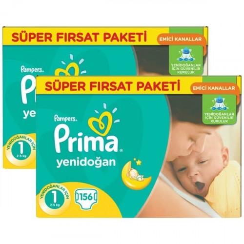 Prima Bebek Bezi Fırsat Paketi Yenidoğan 1 No 156 lı x 2 Adet
