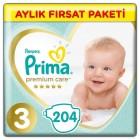 Prima Bebek Bezi Premium Care Aylık Paket Midi 3 Beden 204 lü