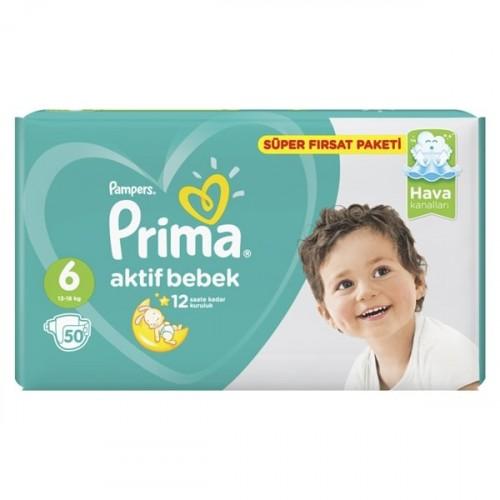 Prima Bebek Bezi Süper Fırsat Paketi Extra Large 6 No 50 li