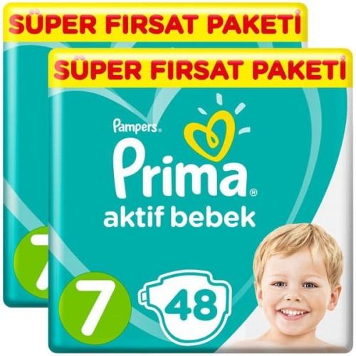 Prima Bebek Bezi Aktif Bebek 7 Beden 48 Adet XX Large x 2 Adet